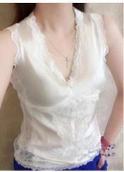 2019 europäische Station Seide Weste Dame Xia innere Abnutzung Chiffon Satin Stretch dünne sexy Spitze Base Shirt
