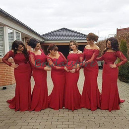 white dresses for beach wedding guest NZ - Elegant Red long sleeves lace bridesmaid dresses for pregnant women Bateau neckline mermaid maid of honor dresses cheap Beach wedding guest