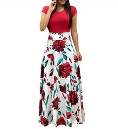 Impressão Floral Do Vintage Patchwork Vestido Longo Mulheres 2019 Casual Vestido de Festa de Manga Curta Elegante O Pescoço Das Senhoras Vestido Maxi Vestido de verão em Promoção