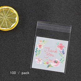 Pattern Cookies Bags Australia - 100Pcs Plastic Packing Flower Pattern Self-adhesive Candy Cookie Gift Packing Sample Package Bag