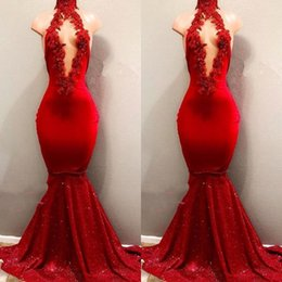 White busts online shopping - African Sexy Red Halter Prom Dress Open Bust Lace Appliques Mermaid Evening Dresses Aso Ebi Nigeria Formal Party Gowns Sexy Backless