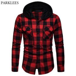 9ae1d1cda714 Fashion Red Black Plaid Hoodie Shirt Men Slim Fit Long Sleeve Mens Hooded  Shirts Hipster Buffalo Plaid Shirt With Double Pockets