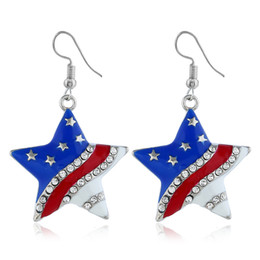 $enCountryForm.capitalKeyWord Australia - Fashion new products colorful star diamond drop oil American Independence day flag earrings for women special earrings