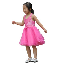 $enCountryForm.capitalKeyWord UK - Hot Pink A line V neck front Halter lace bodice taffeta & beaded bodice tulle skirt with Appliques & Sequins Baby Flower Girls Dress 1157706