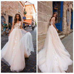 $enCountryForm.capitalKeyWord Australia - 2019 Sweety Pink A-Line Wedding Dresses with Applique Decoration Soft Tulle Sexy Backless Bridal Gown Robe de Mariee