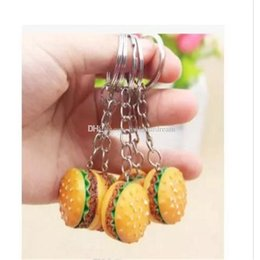 wholesale keychains cheap NZ - Hamburger Shaped Keychains 2017 New Arrival Novelty Food Keyrings Cheap Promotional Gifts a222-a228 20171216 2017121601