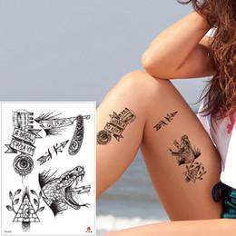a68292b67d6a2 Fake Black Tiny Temporary Tattoo Sticker Fashion Waterproof Abstract Body  Art Tattoo Snake Arrows Design for Arm Leg Hands Waist Male Female