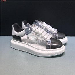 white leather set NZ - Classic new style transparent leather small white shoes,Thick bottom of men and women lovers casual sports shoes Complete set of shoe box