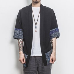 chinese coat l NZ - REGULAR Drop Shipping Cotton Linen Shirt Jackets Men Chinese Streetwear Kimono Shirt Coat Men Linen Cardigan Jackets Coat Plus Size 5XL