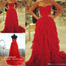 Beautiful Organza Prom Dresses UK - Red Flowy Prom Dress Beautiful Ball Gown Sweetheart Floor-Length Long Women Special Occasion Dress Evening Party Gown