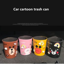 Abs Storage Case NZ - nterior Accessories Stowing Tidying Cartoon car garbage can car trash PU leather rubbish paper towel organizers storage bag mini cute bin...