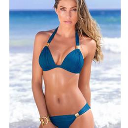 2fe962bdcb8 New fashion hanging neck two-piece solid color bikini hard cup swimsuit  women multi colors backless sexy bikini