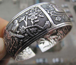 $enCountryForm.capitalKeyWord NZ - Women Vintage Bracelets Wide Bird Plum blossom Flower Printing Tibet Silver Plated Totem Cuff Bracelets Bangles