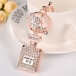 Leather bottLe pendant online shopping - Crystal N5 Perfume Bottle Keychain Women Bags Pendants Key Chain Key Rings Fashion Jewelry Christmas Gift color