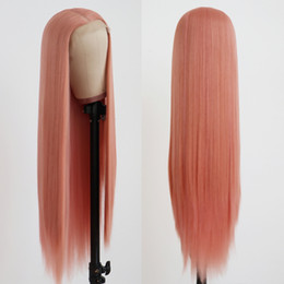Style For Long Black Hair Australia - New Style Soft Pink Long Straight Wig Glueless Synthetic Lace Front Wigs with Baby Hair Middle Part Heat Resistant Wigs for Black Women