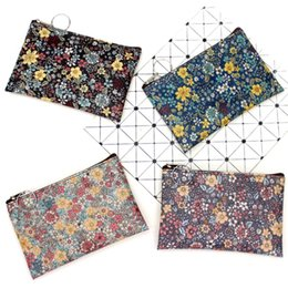 Wholesale Fabric For Purses Australia - vintage small floral coin purse Canvas Fabric small square pouch card holder women mini wallets girl bags hot sale for women