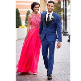 Navy Suits For Sale Australia - One Button Men Suits Wedding Bridegroom Two Pieces Suits With Peaked Lapel Business Formal Men Tuxedos For Sale