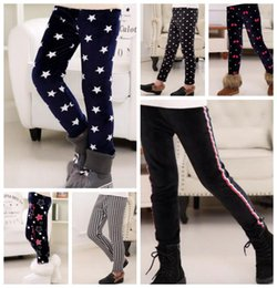 wholesale kids pencil pants NZ - Girls Pants Winter Warm Kids Leggings Printed Children Trousers Thicken Pencil Pants Casual Kids Clothing 6 Designs DW4896