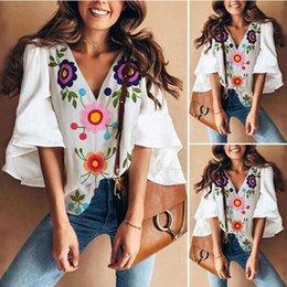 $enCountryForm.capitalKeyWord Australia - Women's casual clothes 2019 summer new design Korean version plus size woman shirts trumpet sleeves printed T-shirt shirt womens clothes