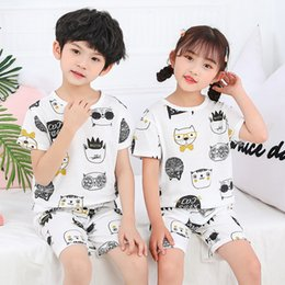 wholesale military shirts Australia - Popular Mesh Short Sleeve Suit Breathable Childrens Cotton Boys and Girls Half Sleeve T-shirt Air Conditioning Suit Jacquard Undershirt Paja