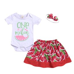 Clothing Boutique Suits Australia - Summer Baby Girl Outfits Toddler Short Sleeve Romper + Watermelon Skirt + Headband 3pcs Set Child Boutique Clothing Suit 4697