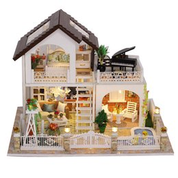wooden dolls house accessories UK - house big holiday villa diy wooden houses kitchen baby doll miniature kit dollhouse 1:12 accessories juguetes para ni MX200414