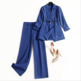 blue sashes belts Australia - European and American women's winter 2019 new style Long sleeve double breasted belt jacket trousers Fashionable blue suit