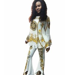 Camping Suit Australia - African women's high-end fashion printed horns in the sleeves sweater + speaker pants suit