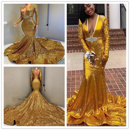 Gold Sequined Mermaid Australia - 2019 Elegant Crystal Sequined Sexy V Neck Gold Mermaid Prom Dresses Long Sleeve Formal Evening Gowns Sparkly Party Dress robes de soirée