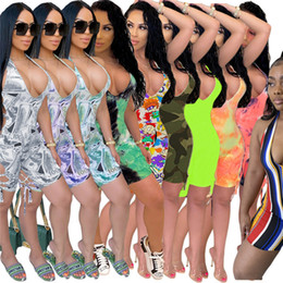 Discount sexy women nightclub jumpsuits Women Summer Sexy Nightclub Jumpsuits Rompers Dollar Stripe Tie Dye Overalls S-XL Bodycon Capris Stretchy Shorts HOT Sell Clothing 3231