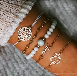 $enCountryForm.capitalKeyWord Australia - Bracelets set bead chain bead strands bead chain hollow-out flower Disc charm Gold plated metal chain rope