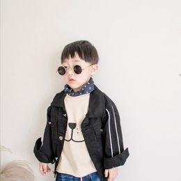 Organic Cotton Jacket Australia - Boy jacket 2018 Spring autumn Jacket For boy cotton Coat lapel White stripe black trench top Children Outerwear Baby Windbreaker