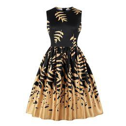 Invisible Zipper Dress UK - Dresses For Women Golden Leaf Print Elegant Sleeveless Round Neck Retro Dress Large Size Invisible Zipper Party Dress Ladies New