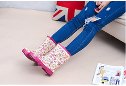pink rain boots Australia - Hot Sale-Women Fashion Hot sale 2016 Adult New Shoes Boots for Rainy Days Rubber Waterproof Women Rain Boots Pink Flowers Boots Rose Flower