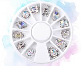$enCountryForm.capitalKeyWord Australia - New 12pcs Box Nail Art Rhinestone Charm Clear AB Alloy Nail Crystal Decorations Wheel 3D Mix Designs Manicure Tools Gift 2019 Sale