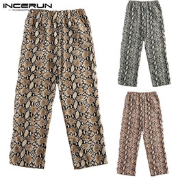 Discount khaki yoga pants - INCERUN Fashion Pants Men Leopard Print Elastic Waist Casual Trousers Men Joggers Workout Loose Yoga-pants Pantalon Homb