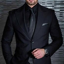 $enCountryForm.capitalKeyWord Australia - Black Wedding Tuxedos Mens Suits Slim Fit Bridegroom Tuxedos For Men Two Pieces Groomsmen Attire Groom Outfit Cheap Formal Business Jackets
