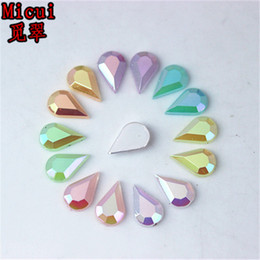 Discount diy stone sew clothe - Micui 500pcs 5*8mm jelly Color Drop Flat Back Acrylic Rhinestones Crystal Stones Non Sewing for Nail Art Clothes DIY DH7
