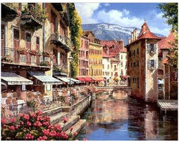 "Kits Paint Oil Paint DIY Painting By Numbers Adult Hand Painted-Small town in Venice 16""x20"" on Sale"