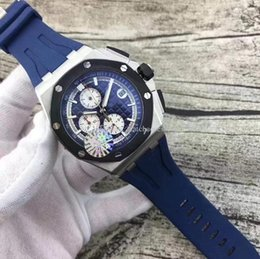 $enCountryForm.capitalKeyWord NZ - Free Shipping Luxury Men's Multi-Function Quartz Watch Timing Quartz Movement Watches 7 Colors Rubber 42mm Mens Quartz Watch