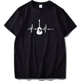 Discount guitar tops - Original Designed Guitar Pattern T Shirt High Quality Fashion O-neck Tshirt Homme Pure Cotton Breathable Fitness Top Dro