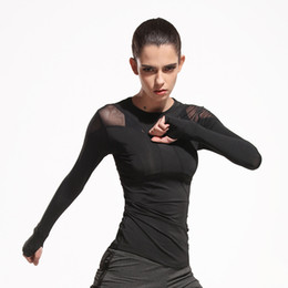 Wholesale sexy women wearing yoga pants resale online - Sexy Running Shirt Top Black Color Mesh Splice Long Sleeves Yoga Wear Pullover Fast Dry Fitness T Shirt Clothes Of Women sya E19