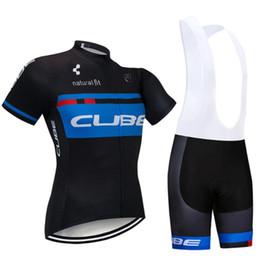cube short clothing 2019 - 2019 Summer CUBE team Short sleeve Cycling jersey set men bike Wear bib shorts+9D gel pad Ropa Ciclismo Bicycle Quick Dr
