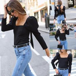 $enCountryForm.capitalKeyWord Australia - Lolita Style Womens Summer Long Puff Sleeve Elegance Square Neck Loose Tops Blouse Ladies