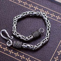$enCountryForm.capitalKeyWord NZ - Wholesale Retro Handmade Fashion Jewelry Rhodium Plated 925 Sterling Silver Chunky Byzantine Chain Bracelet for Men