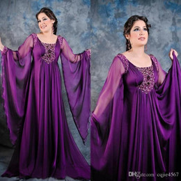 269601c302c8 Plus Size Poet Long Sleeve Beaded 2018 New Scoop Purple Chiffon Long Formal Mother  Dress Dubai Arabic kaftan Abaya Evening Gowns 475