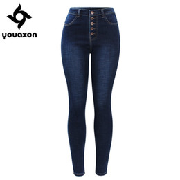$enCountryForm.capitalKeyWord Australia - 2141 Youaxon New Arrived High Waist Jeans For Women Stretchy Dark Blue Button Fly Denim Skinny Pants Trousers J190626