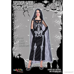 Skeleton Clothes Australia - Women Clothes Halloween Costume Dress Skeleton Bride 2d Print Dress Hooded Lace Cape Cosplay Clothing Fashion