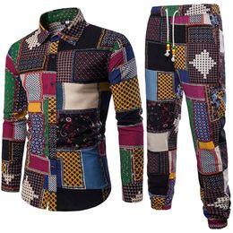 Linen Slim Shirts Australia - Mens Vacation Set Linen Long Pant Ethnic Style Patchwork Male Suit Festival Wear Plus Size 5XL Europe Slim Shirt 2019 Autumn New