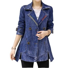 $enCountryForm.capitalKeyWord NZ - New Women Plus Size Denim Coat Jacket Double Breasted Long Sleeve Jeans Jackets Women Fashion Jeans Outerwear Coat Female